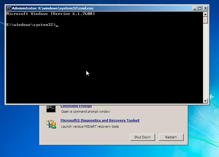 Как зайти в командную строку если Windows не загружается. ERD Commander